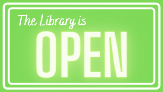 "White text that says ""The library is open"" on a green background."
