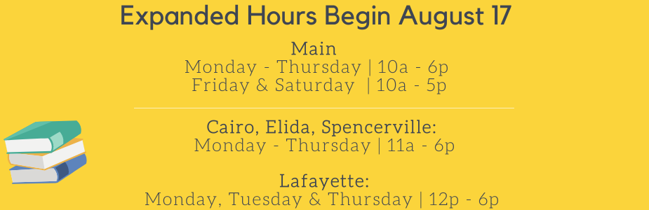 Expanded Hours Begin August 17